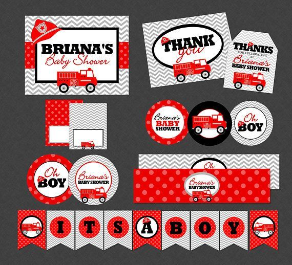 Firetruck Baby Shower Mega Printable Party Pack - Chevron Red Firefighter Fire Engine - Thank You Card , Favor Tags, Party Sign , Food Cards , Cupcake Toppers , Water Wrappers , Centerpiece Circles , It's A Boy Banner #babyshowerfood
