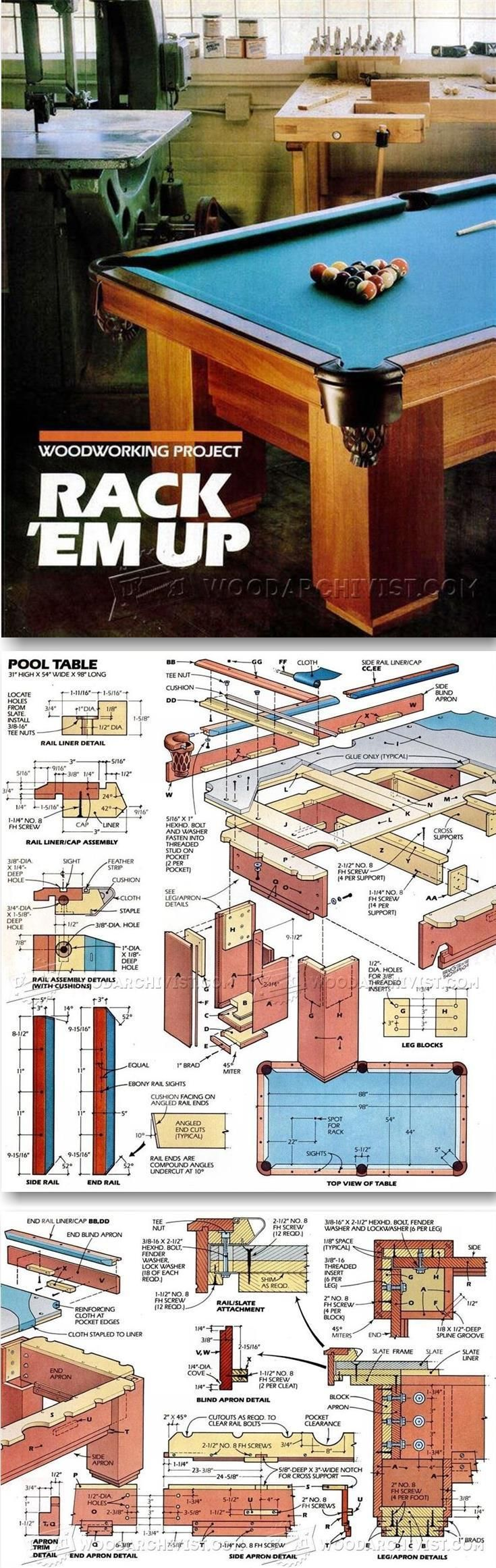 Pool Table Plans - Woodworking Plans and Projects | http://WoodArchivist.com