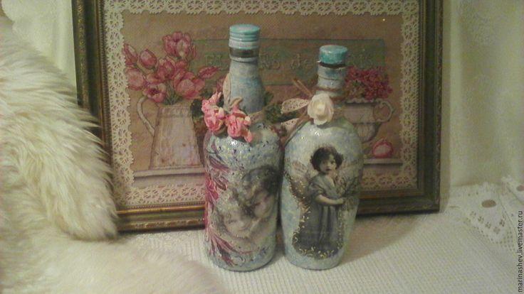 Купить Бутылки декупаж. - бирюзовый, Декупаж, Декор, для дома и интерьера, для кухни, бутылка, кухонные принадлежности