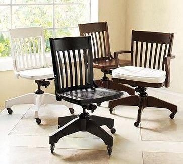 Поворотный Рабочее кресло, черный - традиционный - стулья - Керамика Barn