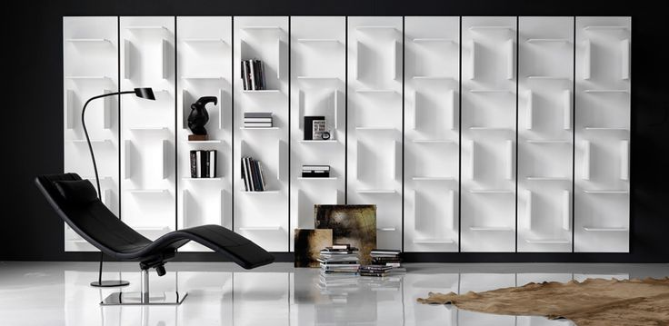 Cattelan Fifty library  Bookcase with structure in white lacquered embossed. Modern design and contemporary Fifty is perfect to complement the decor in any area of the home.  The library is equipped with connections for hooking up and down.  http://www.industryinterior.com/en/prod/living-room/library/cattelan-fifty-library.html