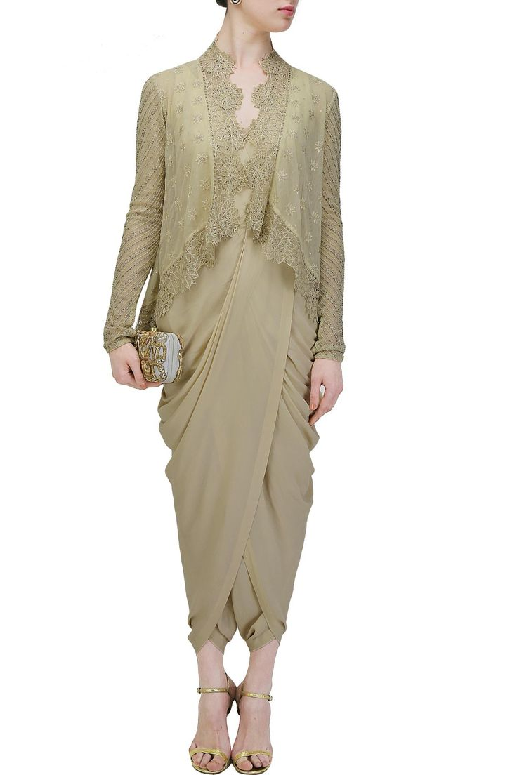 Ivory embroidered high low jacket kurta with copper dhoti pants available only…