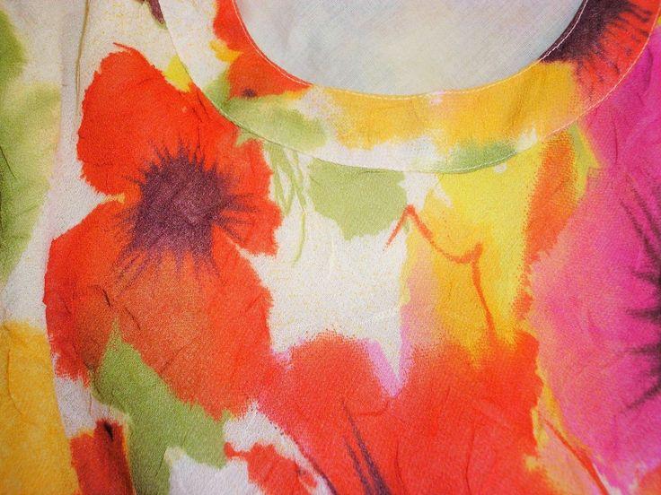 Adini Soft Crushed Geogette Lined Brush Stroke Print Sleeveless Dress