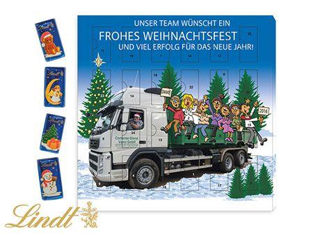Tisch-Adventskalender LINDT als Werbegeschenk mit hochwertiger Schokolade von Lindt individuell zum Bedrucken ab 100 Stück.