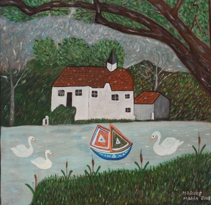 Pictura naiva | Pe lac | Boutiq Art