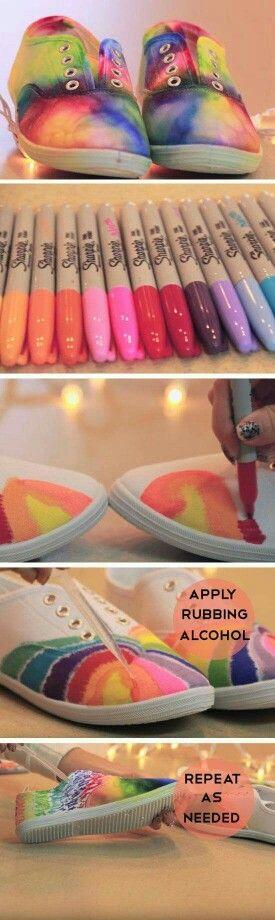 Permanent Marker tie dye shoes