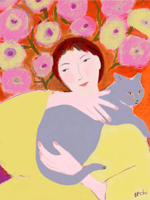 pinkpagodastudio:  Woman with Gray Cat Barbara Perrine Chu