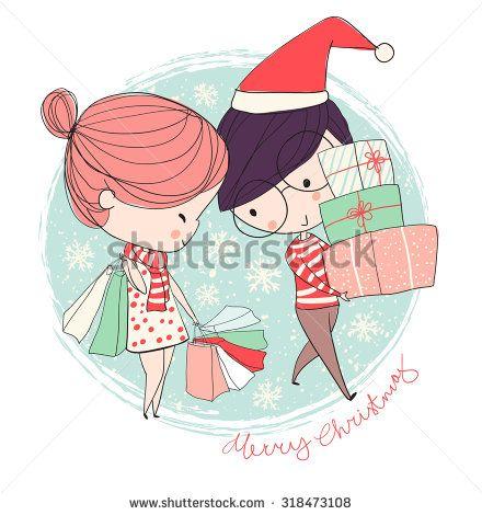 Girl and boy. Christmas card.