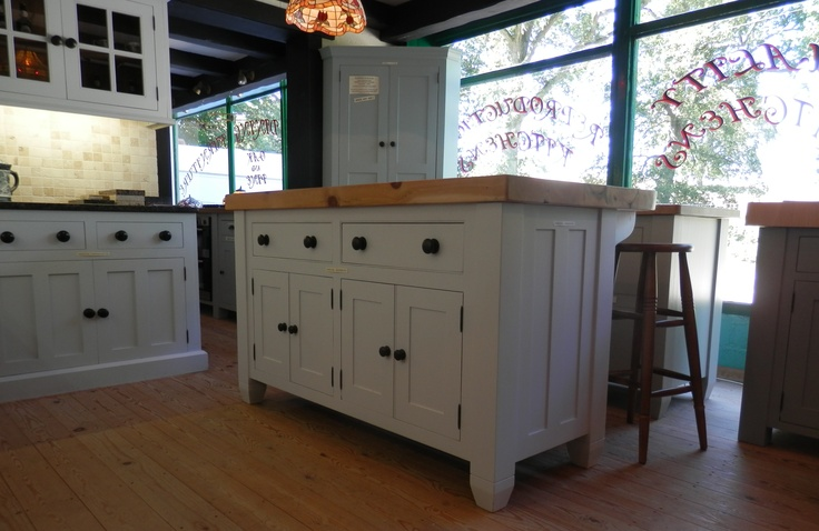 Top Kitchen Island Idea # 5: Our Downi kitchen island in the New Forest showroom is a classic. http://www.john-willies.com/kitchens/freestanding_islandunits.php