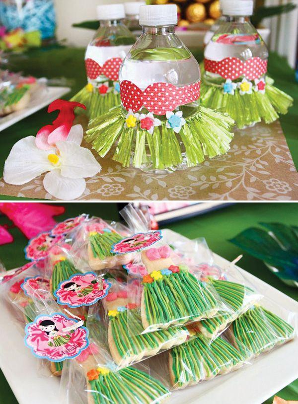 Tropical Oasis Hawaiian Luau Birthday Party: Grass skirt & bikini decorated drinks +grass skirt cookies