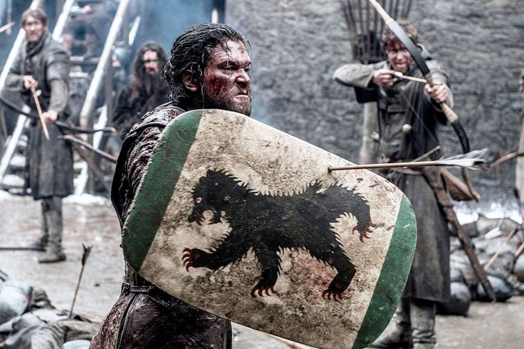 """6.09 """"Battle of the Bastards"""" – One of the best moments in the episode. Ramsay is firing arrows at Jon, and the impact when they hit the shield is fierce!"""