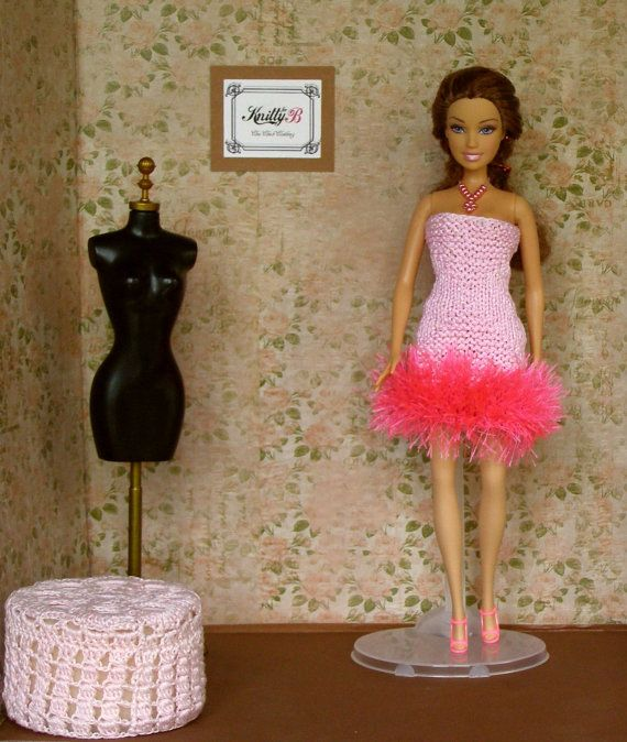 Pink Knit Barbie Dress and Shoes. Handmade Doll Gown. Chic Chick Clothing