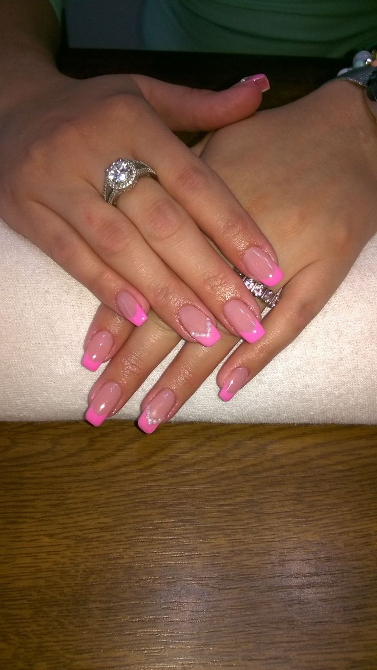 pink french manicure, white rhinestones