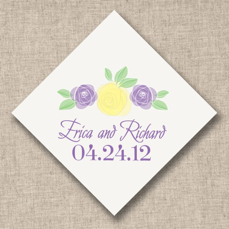Exclusively Weddings Shakespeare in Love Purple Roses Favor Tags. Various ink colors. First name and wedding date personalization. 40 tag order minimum.