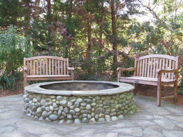 Diy River Rock Fireplace Fire Pit Home In 2018 Pinterest Backyard And Patio