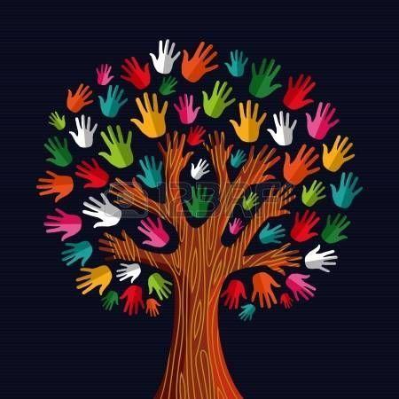 Colorful diversit� albero mani Illustration.Illustration livelli di facile manipolazione e la colorazione personalizzata. photo