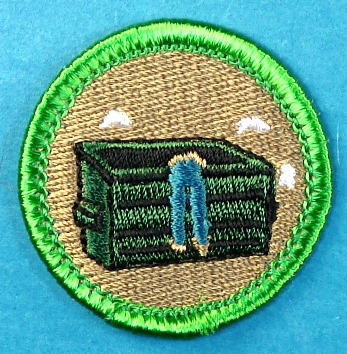 """Dumpster Diving Merit Badge - Boy Scout Store - Search site for other """"spoof"""" merit badges/could be used as patches for GS"""