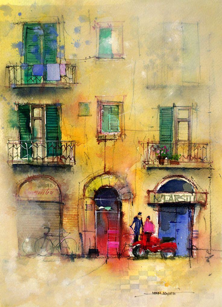 Palermo - watercolor painting via www.splashingpaintblog.com