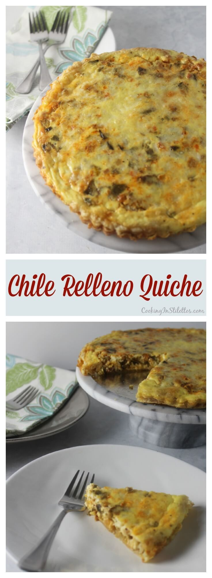 Chile Relleno Quiche from CookingInStilettos.com is a brunch showstopper. Roasted poblanos and pancetta nestled in a puff pastry crust with eggs and sharp cheddar cheese makes for a delicious bite.  This east quiche recipe is perfect for breakfast, brunch, or even dinner!