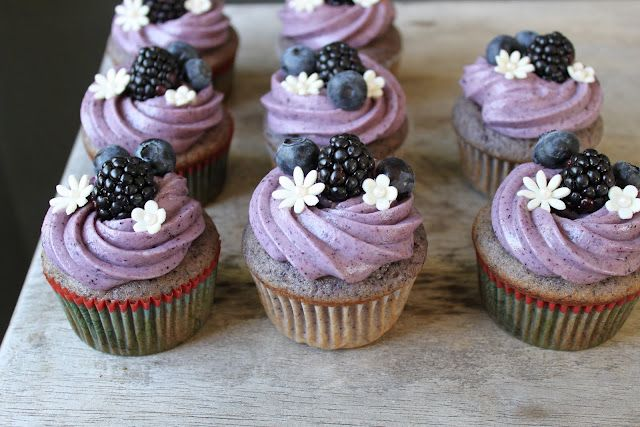 Blueberry-Blackberry Cupcake with Blueberry Cream Cheese Frosting