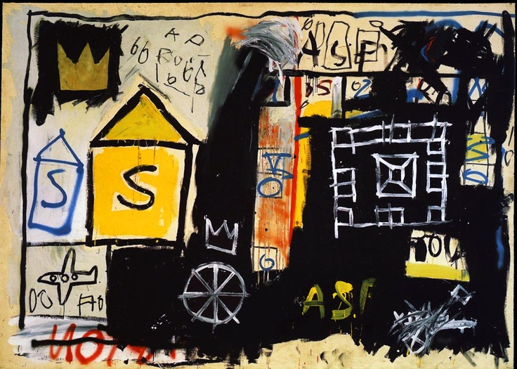Resultado de imagem para jean michel basquiat Acrílico, tinta spray e óleo na tela. Localização: . Coleção de Annina Nosei