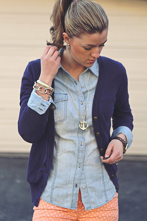 The Students Wife: coral polka dot pants, jean shirt, navy cardigan. Love this whole look!