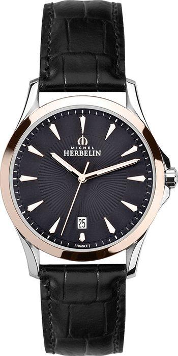 Montre Michel Herbelin Homme 12213 /TR14 - Quartz - Analogique - Cadran Acier inoxydable Or Rose et Argent - Bracelet Cuir Noir - Date