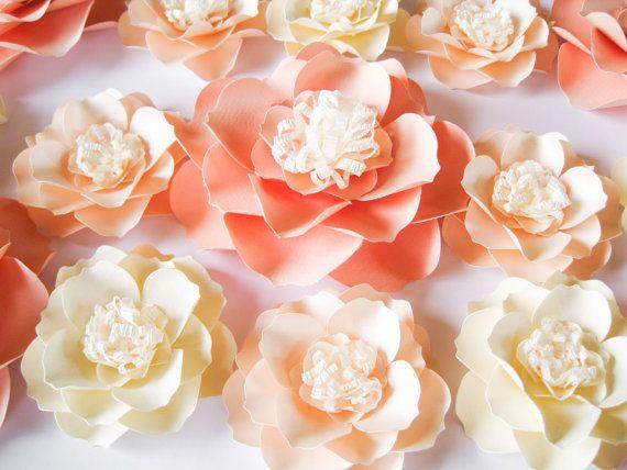 15 flores de papel de color rosa pálido flores por ThePurpleDream