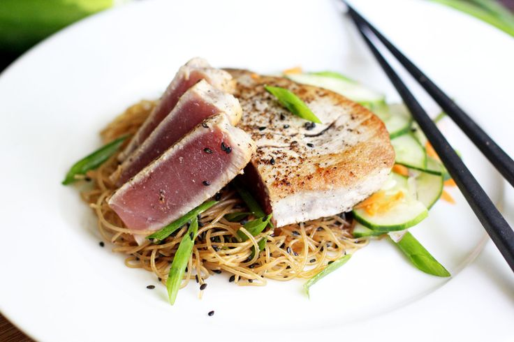 Seared Tuna with Sesame Ginger Rice Noodles and Asian Cucumber Salad ...