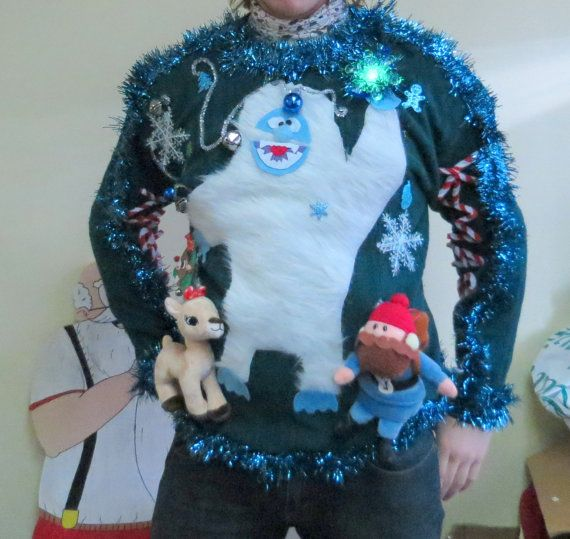 Custom 3-D Furry Fuzzy Bumble The Abominable Snowman Light UP Tacky Ugly Christmas Sweater Free PRIORITY MAIL Shipping