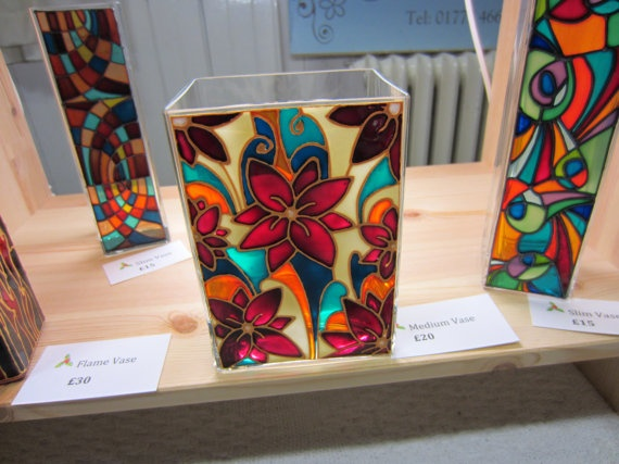 Hand Painted Glass Vase by ASplashofColour1 on Etsy, £20.00