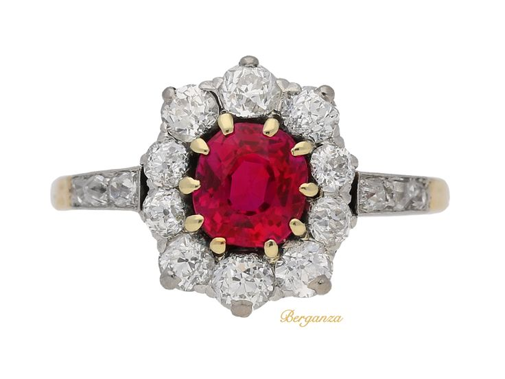 Antique Burmese ruby and diamond coronet cluster ring, circa 1905.