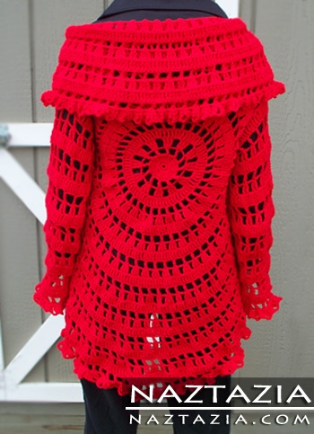 Crochet circle sweater jacket