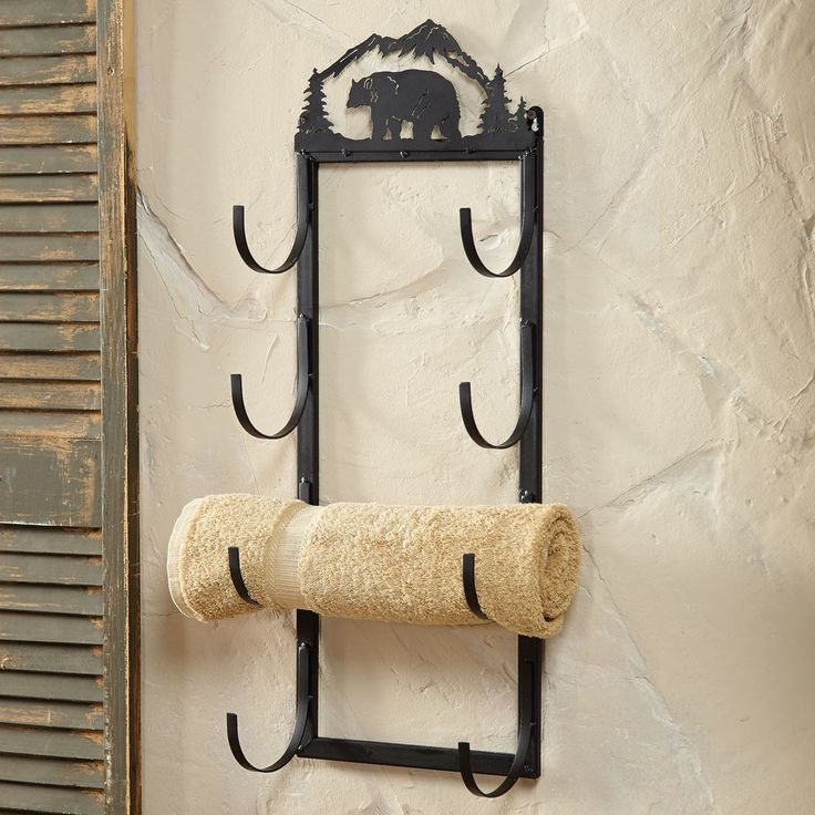 Bear Wall Door Mount Towel Rack Rustic Country Decore