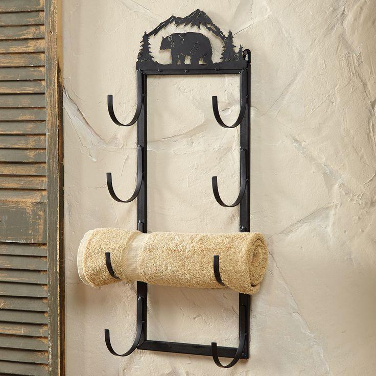 Bear Wall Door Mount Towel Rack Rustic Country Decore