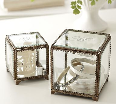 Glass Display Box - put padding in the bottom (moss or pillow) and use as a ring bearer box, then keep as a ring box on your nightstand after the wedding :) #potterybarn