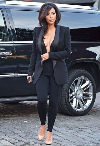 Kim Kardashian in ASOS and Saint Laurent