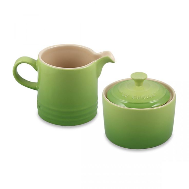 Le Creuset Stoneware Cream & Sugar Set - Palm | A lovely palm green set, coated in a porcelain enamel-glaze finish that is easy to clean and resists chips, scratches and stains! #lecreuset #tea #coffee
