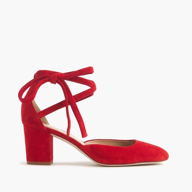 Sophia ankle-wrap pumps in suede