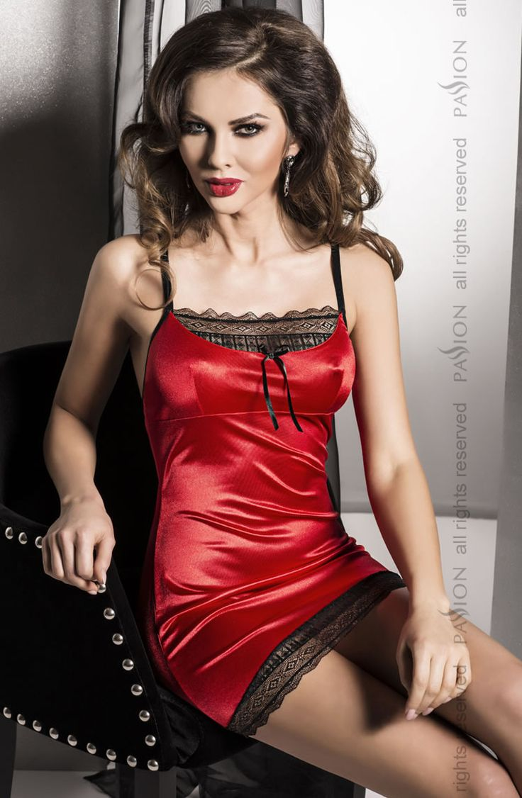Passion Evane Chemise £32.99  Elegant chemise by Passion Lingerie in either black or red satin material with sheer lace panels to the bust and hem. Matching thong included. #chemise #passion #lingerie