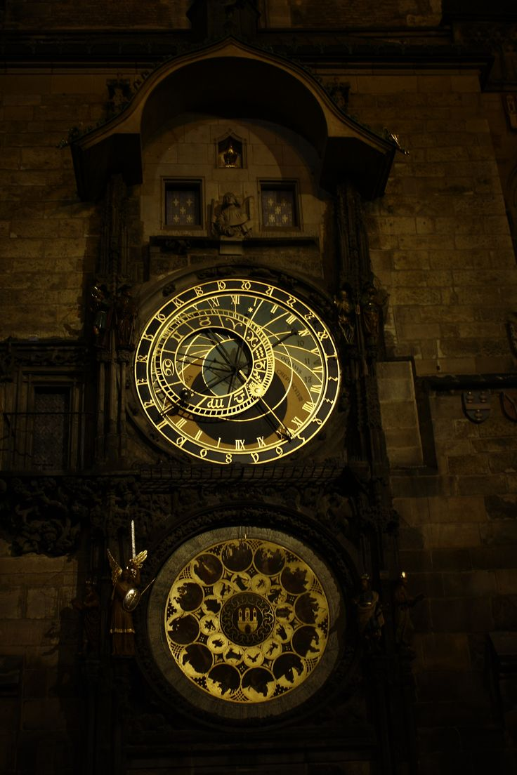 Astronomical clock by night