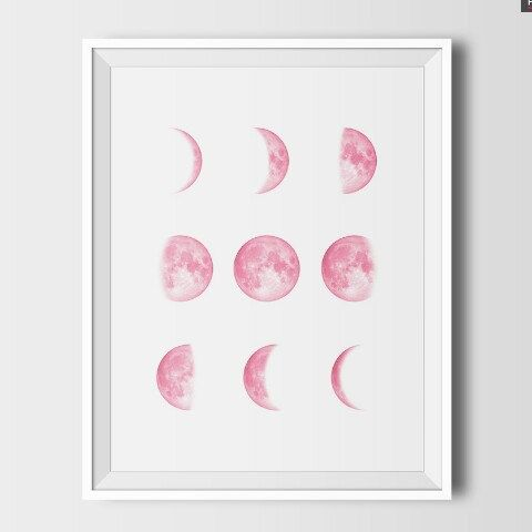 Moon phases printable art. Four color versions, scalable sizes, 300 dpi. ;)