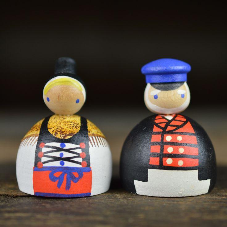 1960's Traditional German Folk Wooden Dolls
