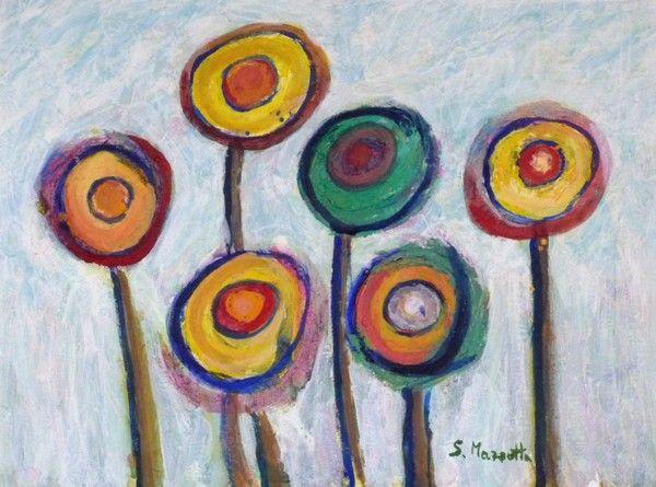 Titolo: Flowers n 2, Tecnica: Acrylic on paper, Dimensione: 40x30 cm, Artist: Silvio Mazzotta