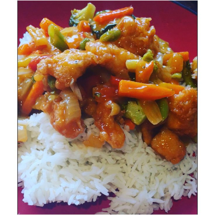 HomeMade Sweet & Sour Chicken over White Rice