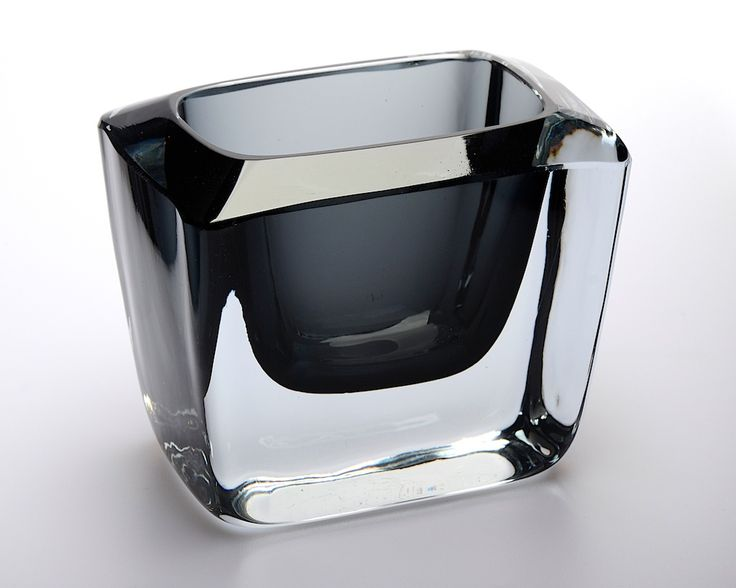 Retro Swedish Stromberg also known as Strombergshyttan smokey grey colour chunky glass vase with recessed rim, a very collectable piece of Swedish glass, small but beautiful. H. 7.5cm. Width 8.5cm. Depth 6cm. Excellent condition.