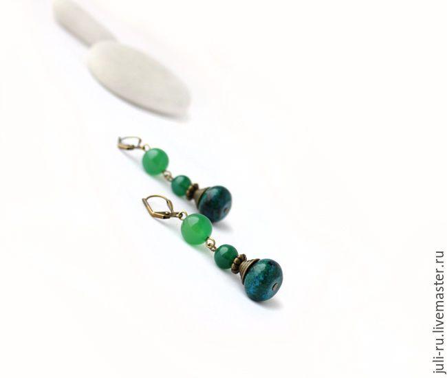 Купить Серьги зеленые с агатом и хризоколлой Гелана - стильные серьги зеленые, серьги зеленые купить