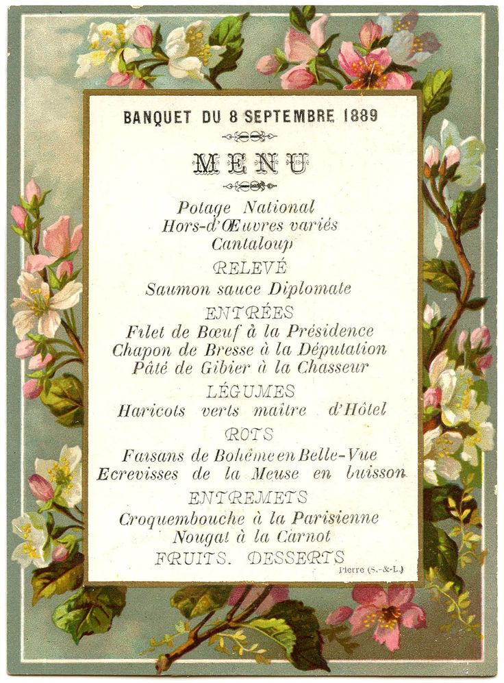 74 best French Menus images on Pinterest French antiques, Wine - french menu