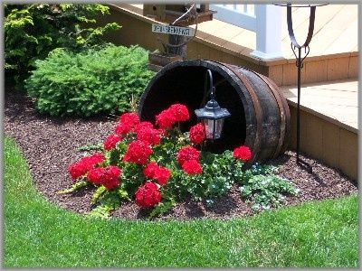 Put sideways pot anywhere with a solar light behind flowers very pretty�.