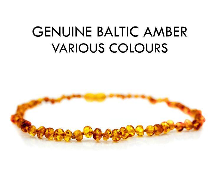 Baby Teething Amber Necklace Bracelet Anklet Genuine Natural Baltic Beads  #teething #amber #teethingremedies #teethingremedy #amberjewelry